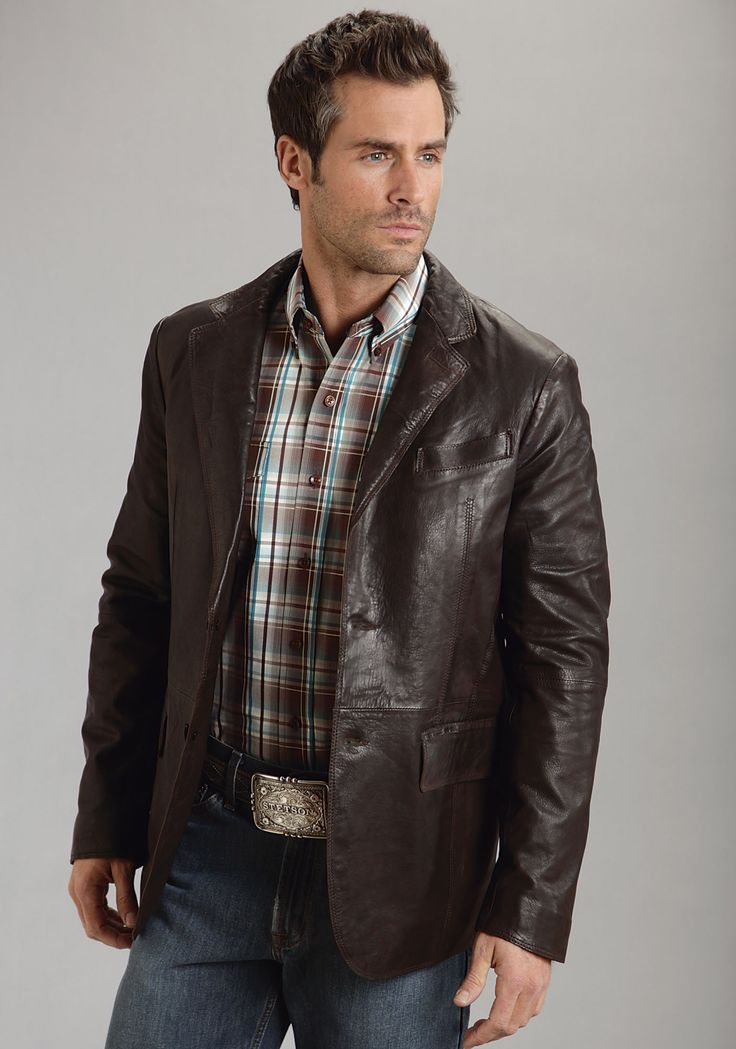 Stetson Mens Brown Smooth Leather Jacket Blazer Western Button Front
