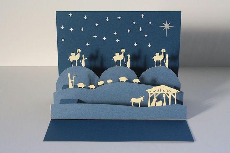 Рождественские открытка киригами