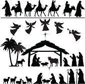 Natividade silhueta conjunto