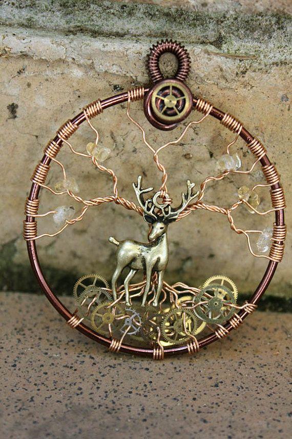 Tree of Life  Steampunk Stag/Deer by GelArt on Etsy