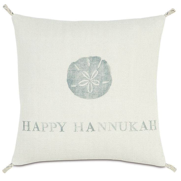 Eastern Accents Coastal Tidings Happy Hannukah Indoor/Outdoor Throw Pillow