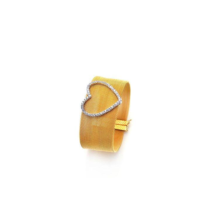 Open Heart Clear CZ Mesh Bracelet