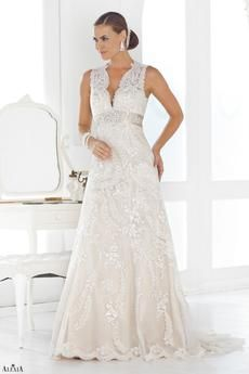 Traditional Lace bridal gown with satin waistband and elegant button back.