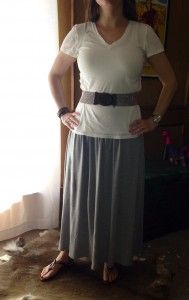 Sunday – a gray maxi skirt, belted white t-shirt, and sandals
