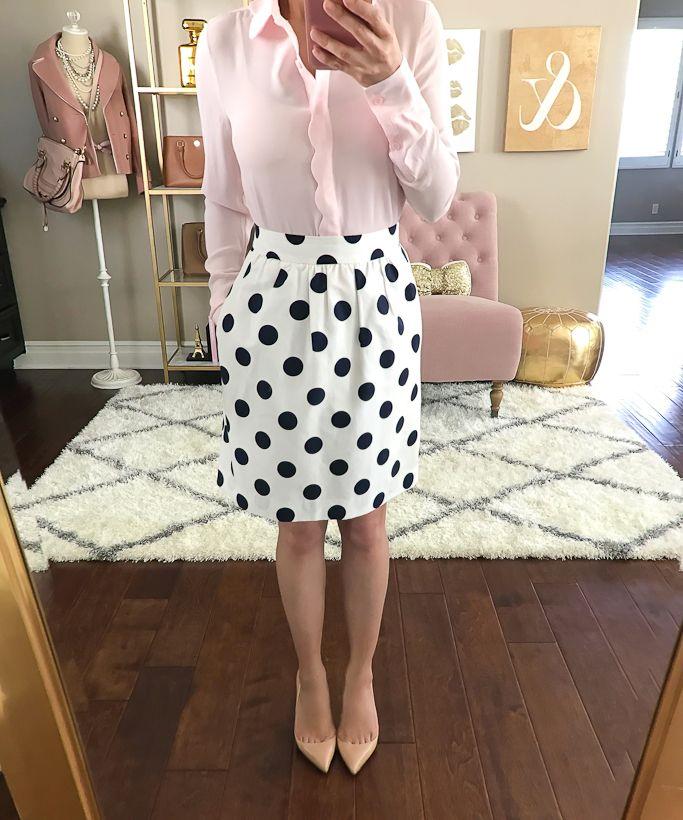 scalloped blouse, polka dot skirt