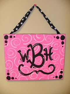 Cute canvas painting (love the font for the initials)