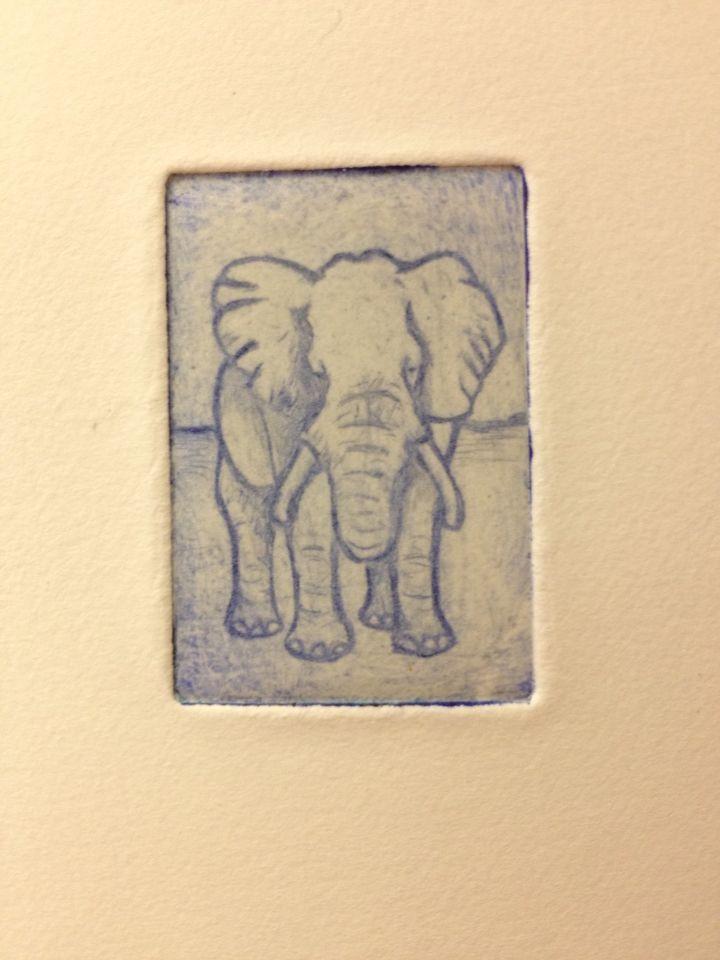 Liten blå elefant i grafik