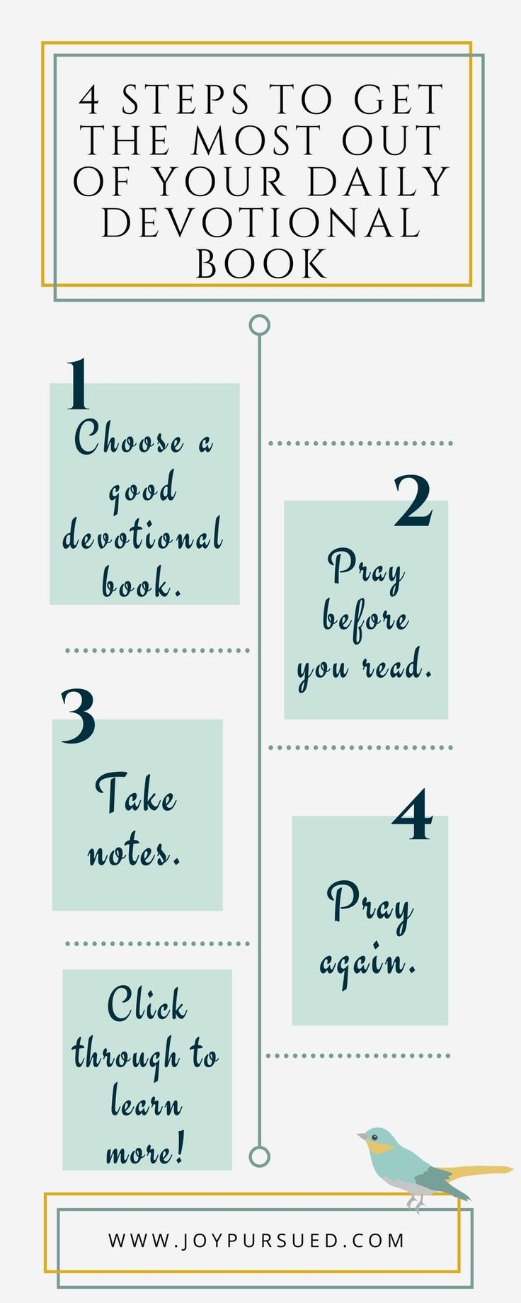 Do you read a morning devotional only to find you've forgotten it by lunch? Learn how to get the most out of your daily devotional book with these four easy steps.