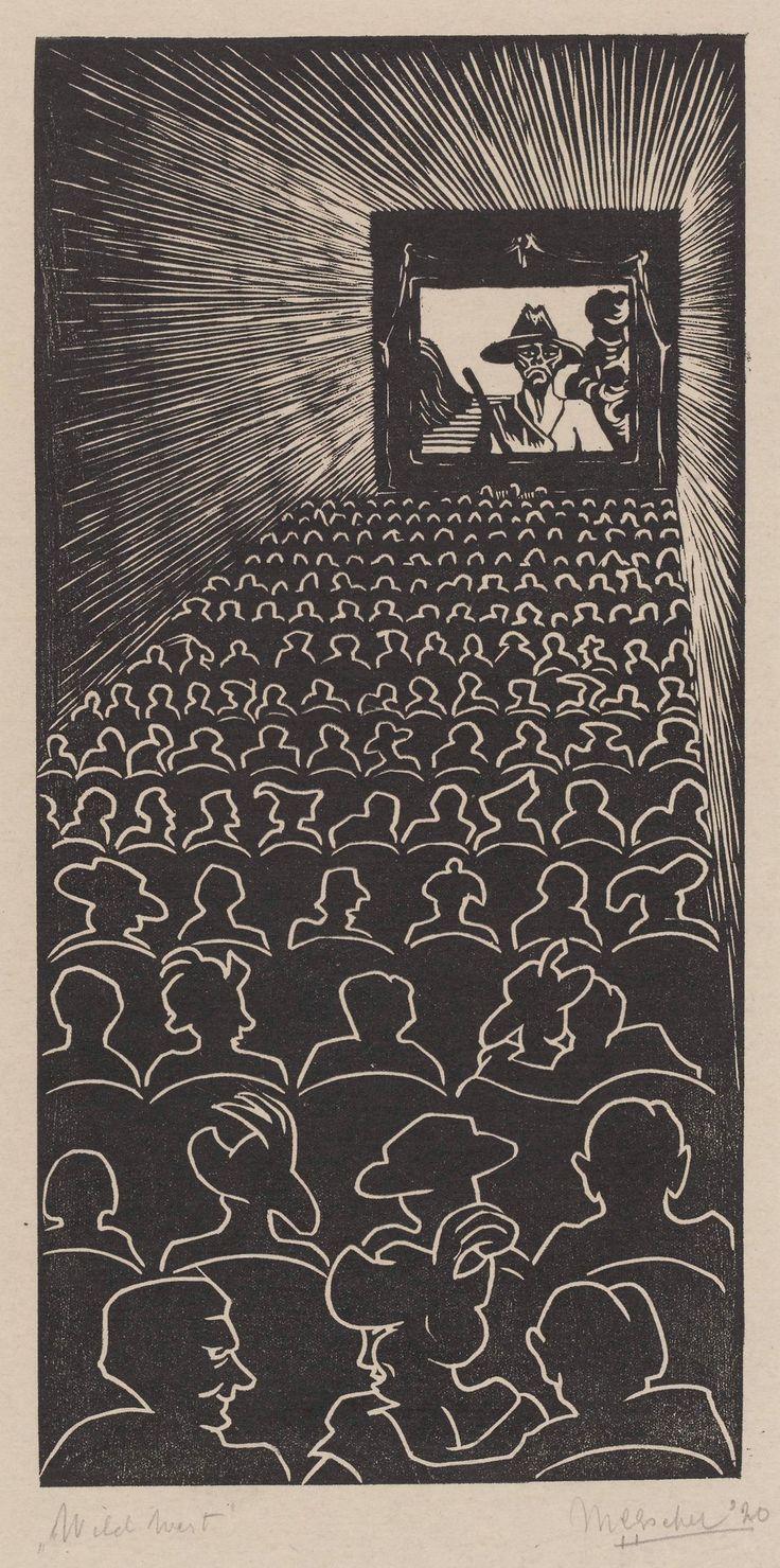 Wild West, - woodcut - 1920, M. C. Escher. Dutch (1898 - 1972)