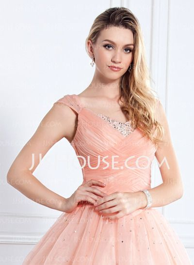 Corte de baile Escote en V Vestido Organdí Satén Vestido de quinceañera con Volantes Abalorios Lentejuelas (021002897)