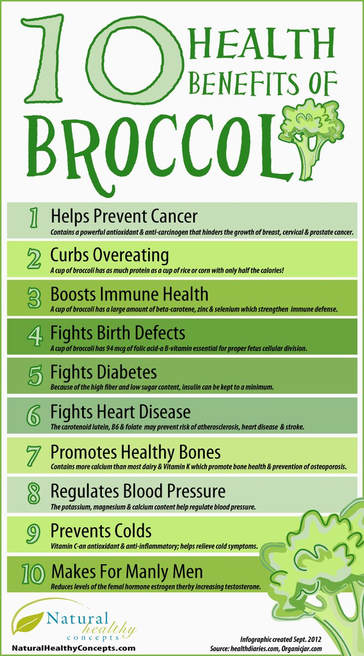 Healthy foods, means healthy living! Check out these 10 Health Benefits of Broccoli! #infographic #preventscancer #healthytips and it's one of the in ingredients in the garden juice plus www.sherijewell.juiceplus.com