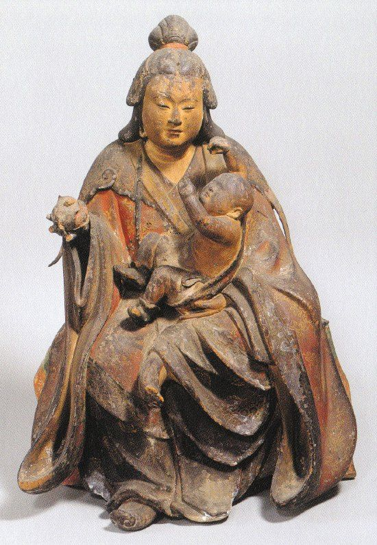 Originally a child-devouring Yakṣa 夜叉 from Hindu lore named Hāritī, but she repents and coverts to Buddhism. In Japan, the deity's name was transliterated as Kariteimo 訶梨帝母 or Karitei 訶利帝, and translated as Kishimojin 鬼子母神 or Kangimo 歓喜母. In Japan, Kariteimo is the protector of children and the goddess of easy delivery, child rearing, parenting, harmony between husband and wife, love, and the well-being and safety of the family