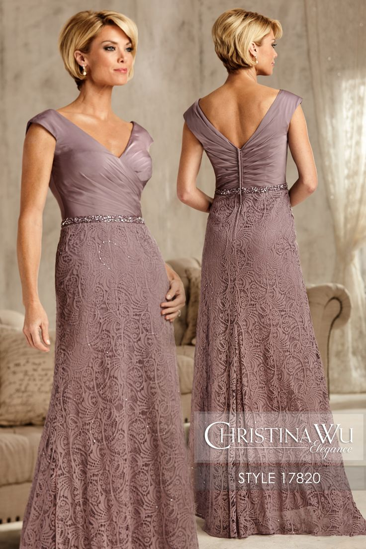 #ChristinaWuElegance Style 17820 Illusion V-neck, back, and 3/4 sleeves in beaded lace; pleated bodice; and stretch net trumpet skirt. MATERIAL Two Toned Chiffon & Lace SILHOUETTE Semi A-Line NECKLINE V-Neck COLOR Navy, Champagne, Purple
