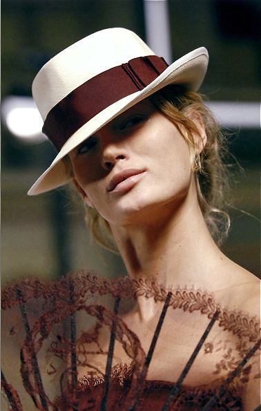 Hermes hat - Summer party style: This hat with a sleeveless full lenght dress, same colour as the hat's ribbon. Flats.