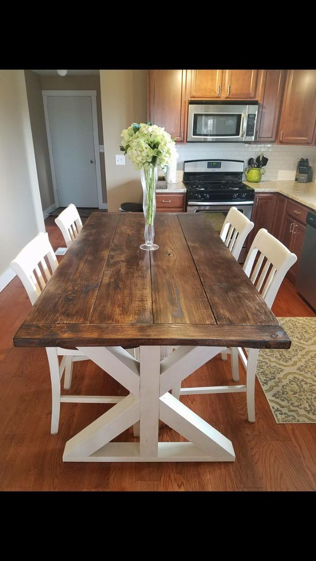 Farmhouse Table 4 1 17 Made It Counter Top Height Homemade Kitchen Tables Diy Dining Table Diy Kitchen Table