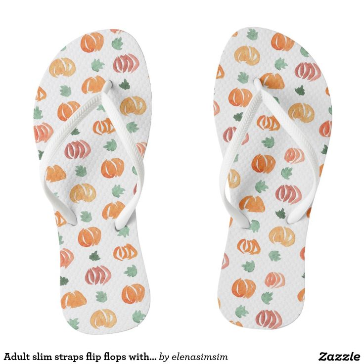 Adult slim straps flip flops with pumpkins