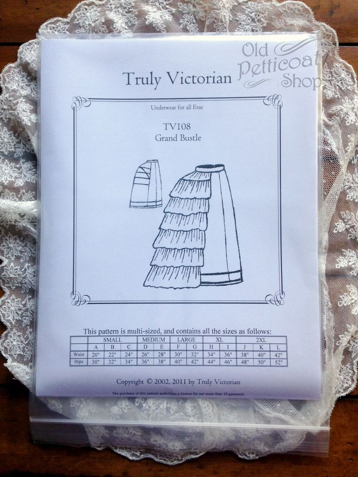 Truly Victorian TV108 Grand Bustle Pattern – Old Petticoat Shop