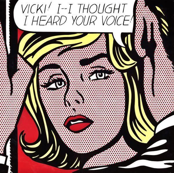 Reproduction de Roy Lichtenstein, Vicki!. Tableau peint à la main dans nos ateliers. Peinture à l'huile sur toile.