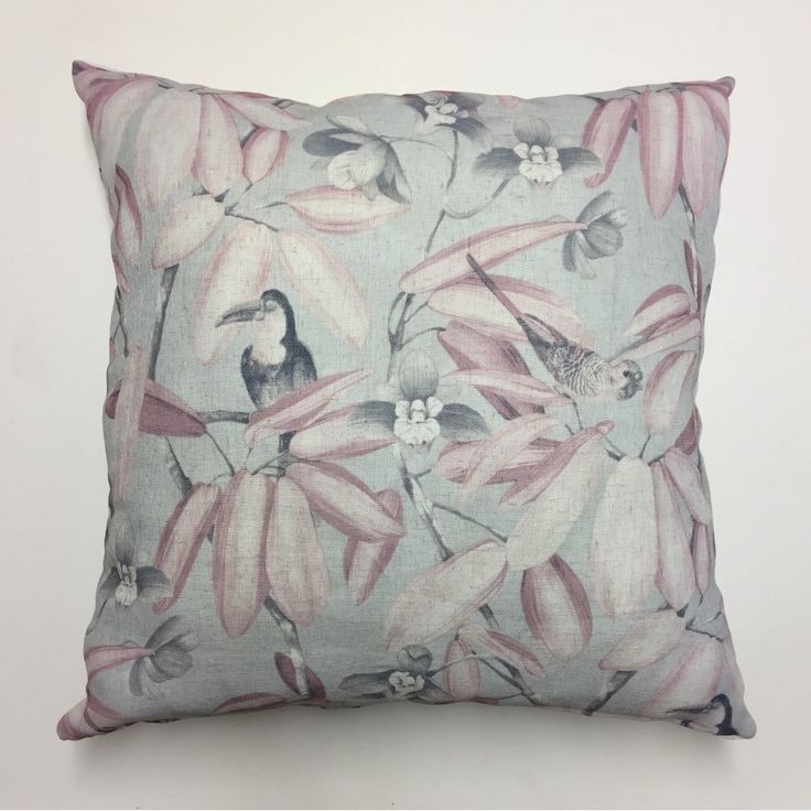 Aviary Pink Scatter Cushion 60cm X 60cm  Floral and leaf prints with plain back. Made from Hertex Fabric 100% cotton front and back.