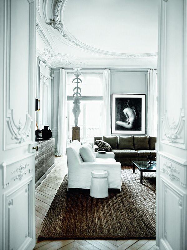 gorgeous moldings + high ceilings + modern furnishings