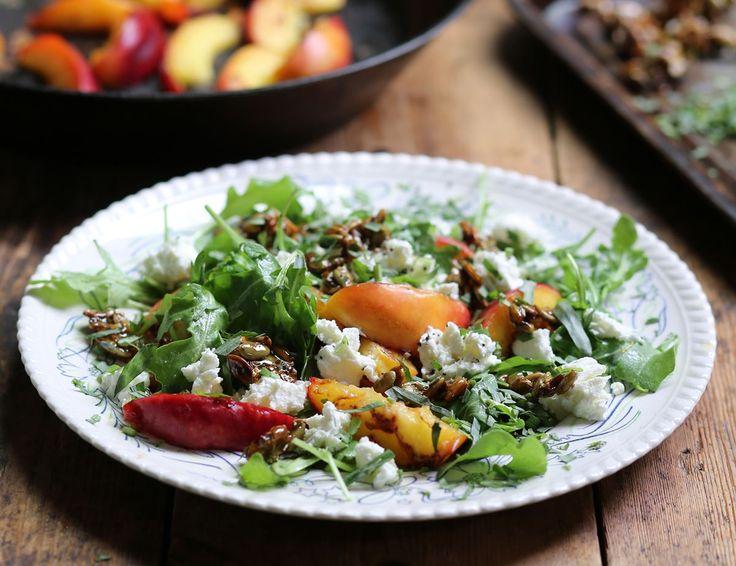 Griddled Nectarine Salad with Honeyed Pumpkin Seed Brittle Recipe | Abel & Cole