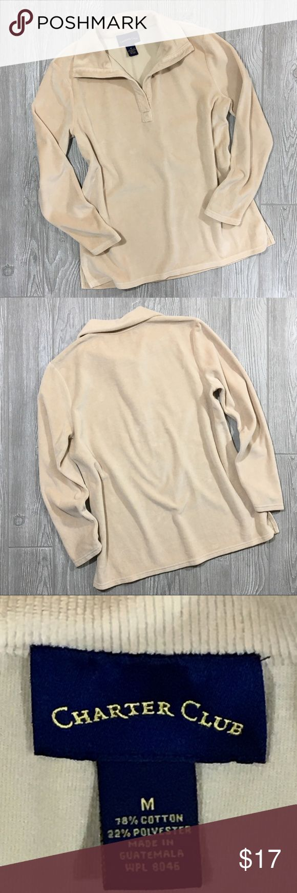 """Charter Club Top Camel colored long sleeve top. Very soft and comfortable!  25 1/2"""" Length / 19 1/2"""" Chest / 24"""" Sleeve. Size M Charter Club Tops"""