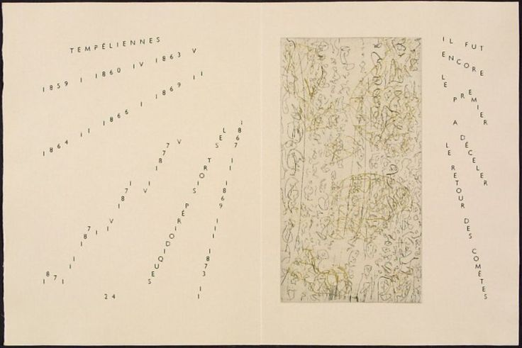 Untitled, pg. 24 (double page), in the book Maximiliana ou l'exercice illégal de l'astronomie: L'Art de voir de Guillaume Temple by Max Ernst (Paris: Iliazd, 1964).