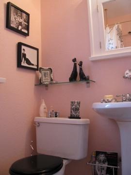 Vintage Pink Black Bathroom