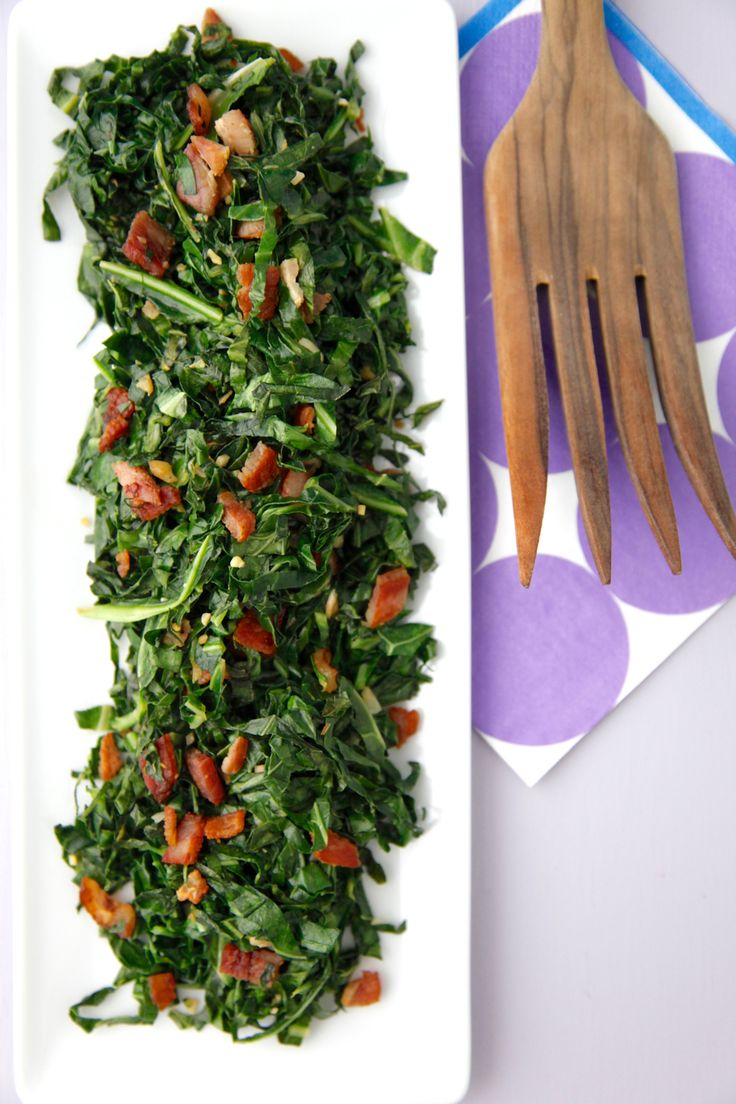 Simple Sauteed Collard Greens - Crispy bacon adds tons of flavor to very thinly sliced collard greens. This recipe will get everyone to eat their greens!