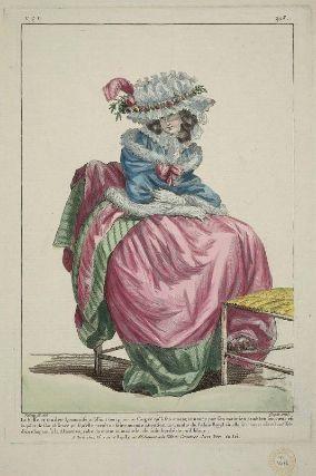 """""""La belle et tendre Lyonnoise, oubliant tout pour ne songer qu' à son amant, annonce par son maintien combien son coeur est inquiet de son absence par son maintien combien son absence puisqu'elle paroit ne faire aucune attention au tumulte du Palais Royal ou elle se trouve; elle est coëffée d'un chapeau à la Almaviva, robe du matin et mantelet de satin bordé de poil blanc"""", Gallerie des Modes, 1785; MFA 44.1632"""