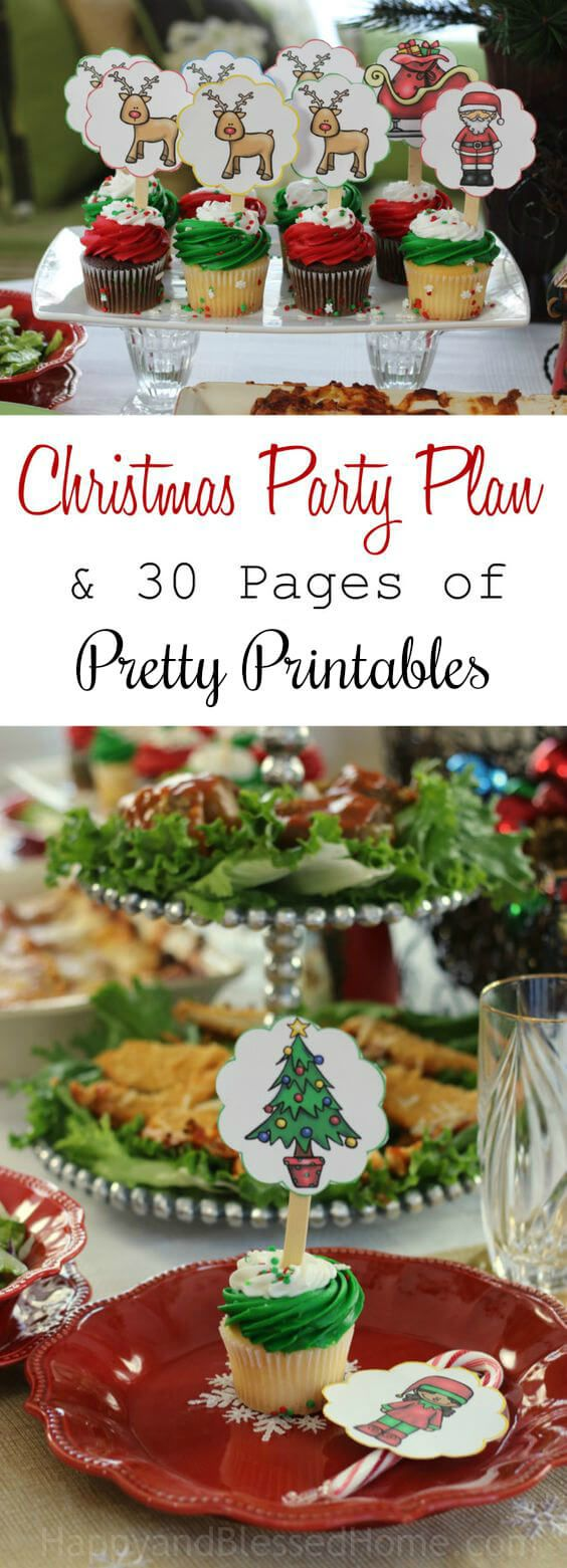 Awesome Christmas Party Plan and 30 Pages of Pretty Printables for the perfect Holiday Party. Includes easy recipes for entertaining. The 30 page printable pack includes table scatter, name tags, napkin ring holders, party signs, straw toppers, candy cane stickers, and cupcake toppers. The cupcake toppers will allow you to create a cake display of Santa, his sleigh, and eight tiny reindeer. Easily use these for a DIY gift or crafts. A perfect idea for party decor. Ad