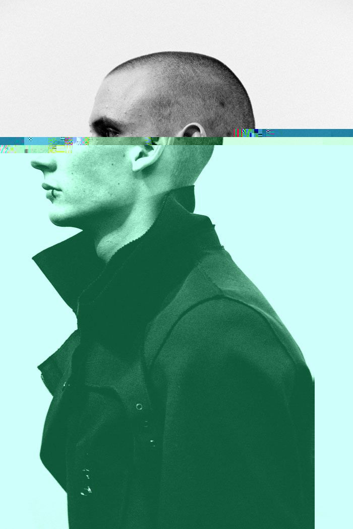 Cette composition imite l'apparence du fractionnement d'un objet lorsque il rentre dans de l'eau. Au sommet de la superposition des couleurs, ce sont des lignes qui ressemblent à des pixels d'un écran de télévision ou d'un ordinateur . A l'axe central (sa tête , ou plus précisément ses yeux.