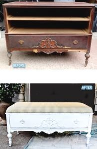 Before/After DIY   Repurposing Old Furniture ~ dresser to shabby chic coffee table image by Better After. Before/After Photo Gallery Images by various sources. BDG blogger Lori. #shabbychicfurnituremakeover