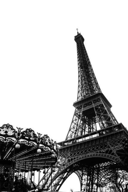 Eiffel Tower Wall Art Paris Black and White photography