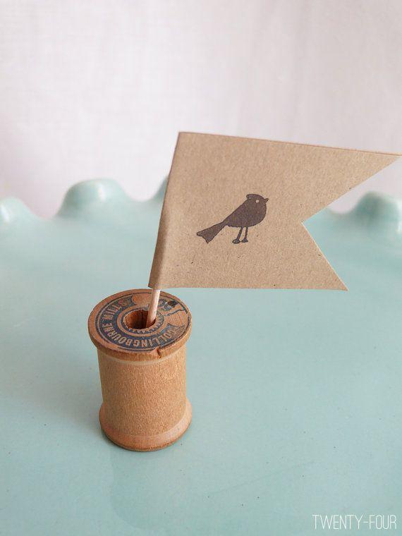 50 best bird wedding ideas: #24 bird cupcake flags (by zobe designs) via Emmaline Bride