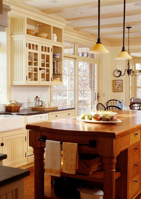Love the basic ideas behind this: Kitchens Design, Cream Cabinets, Lights Fixtures, Country Style Kitchens, Color, Kitchens Ideas, Islands, Country Kitchens, Design Home