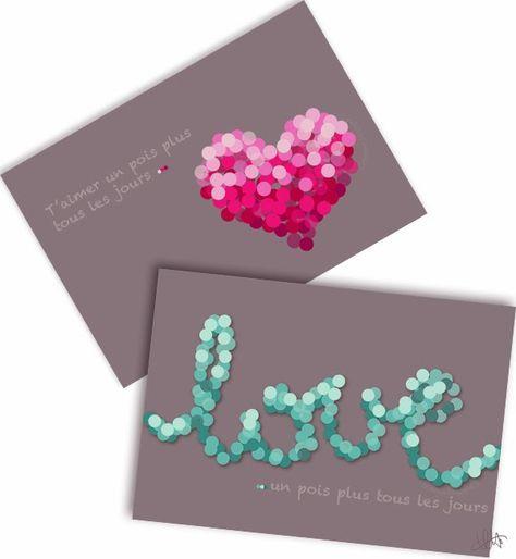 Cartes Saint-Valentin 2014 à télécharger et imprimer gratuitement 1 rose et rouge pois coeur 1 vert émeraude pois love