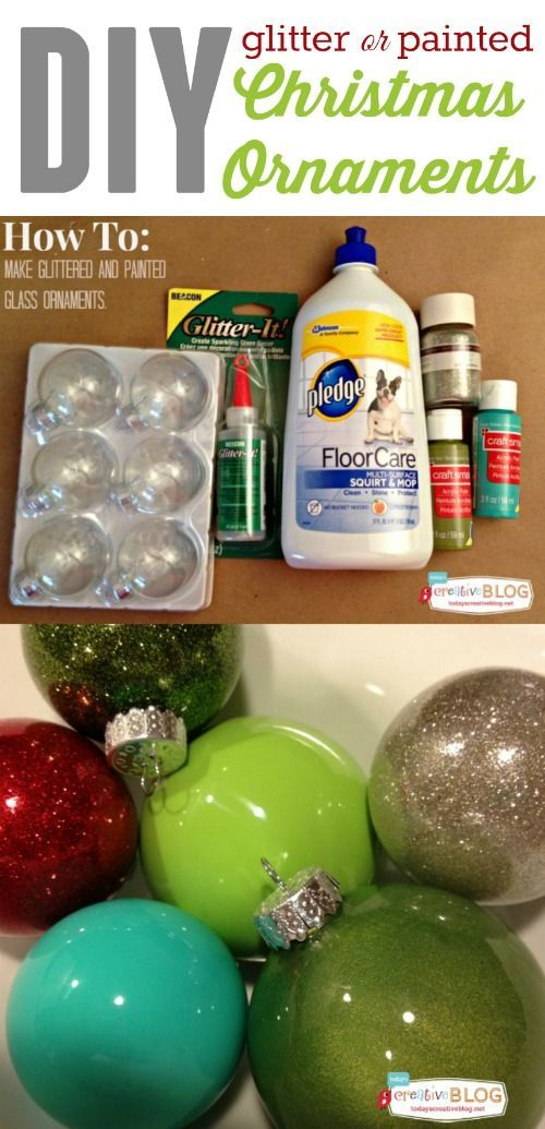 DIY Glittered or Painted Christmas Ornaments   It's easy to create custom holiday ornaments. Using floor polish, acrylic paints and clear glass ornaments, you can make any color! Add glitter for fun! See the full tutorial on TodaysCreativeLife.com