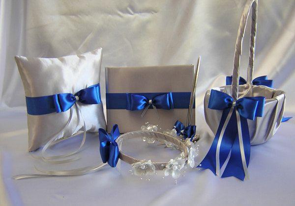 blue+&+silver+wedding+theme | Wedding Silver Royal Blue Flower Girl Basket by weddingsbyminali