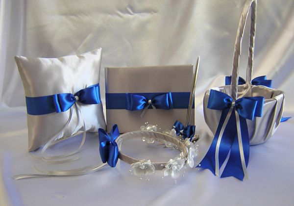 blue+&+silver+wedding+theme   Wedding Silver Royal Blue Flower Girl Basket by weddingsbyminali