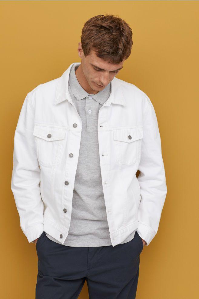 Denim Jacket White Men H M Us White Jeans Men Denim Jacket Men White Denim Jacket