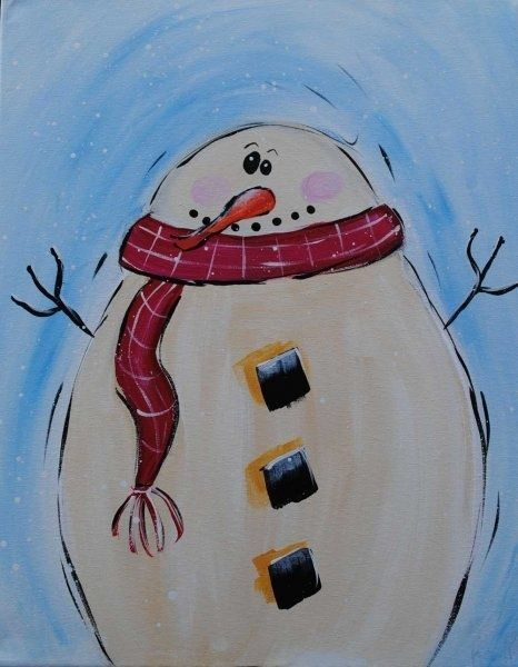 Easy Canvas Painting Ideas Cute Frosty The Snowman