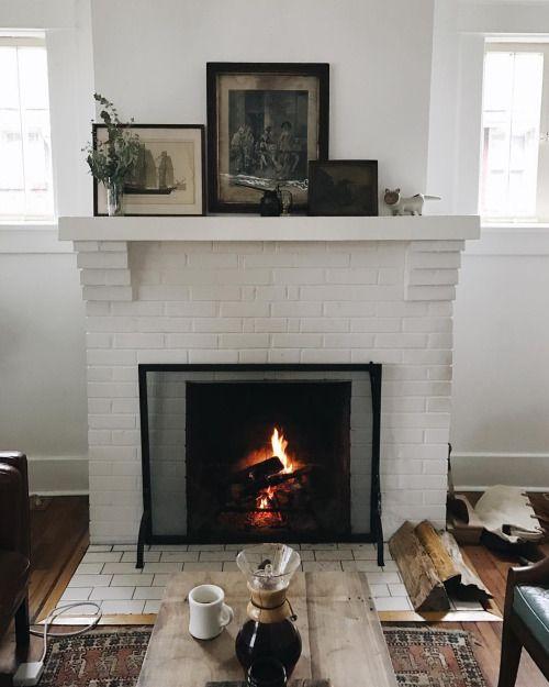 want // fireplace, scandinavian, minimalist, coffee, living room, interior design, white walls, brick, modern