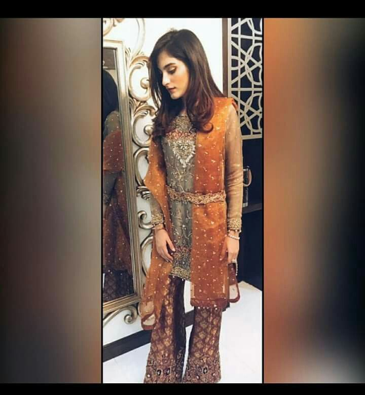 Grey & orange paki desi outfit