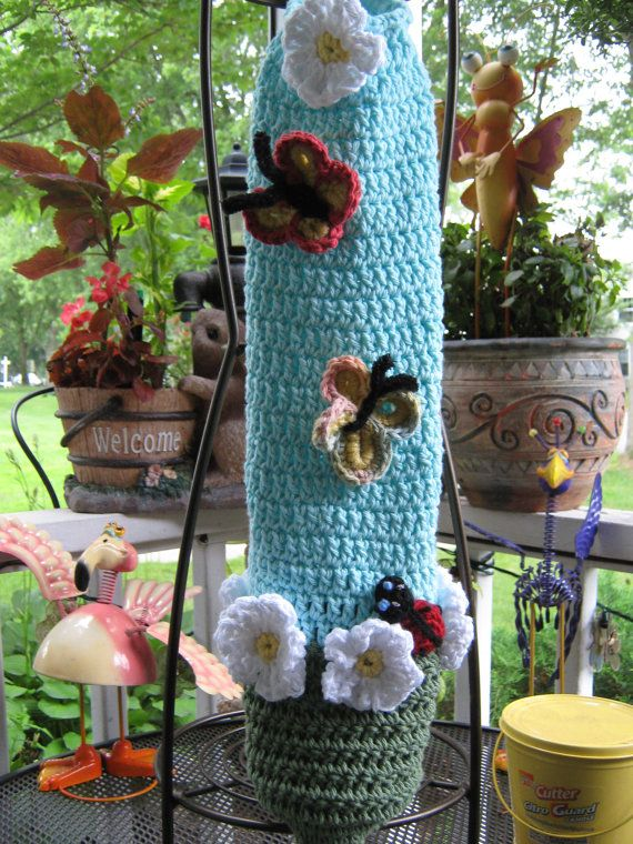 Crochet Pattern For Trash Bag Holder : Crochet plastic bag / garbage bag by JillieBeansCrochet on ...