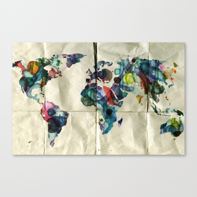 Colorful World Stretched Canvas by NKlein Design - $85.00