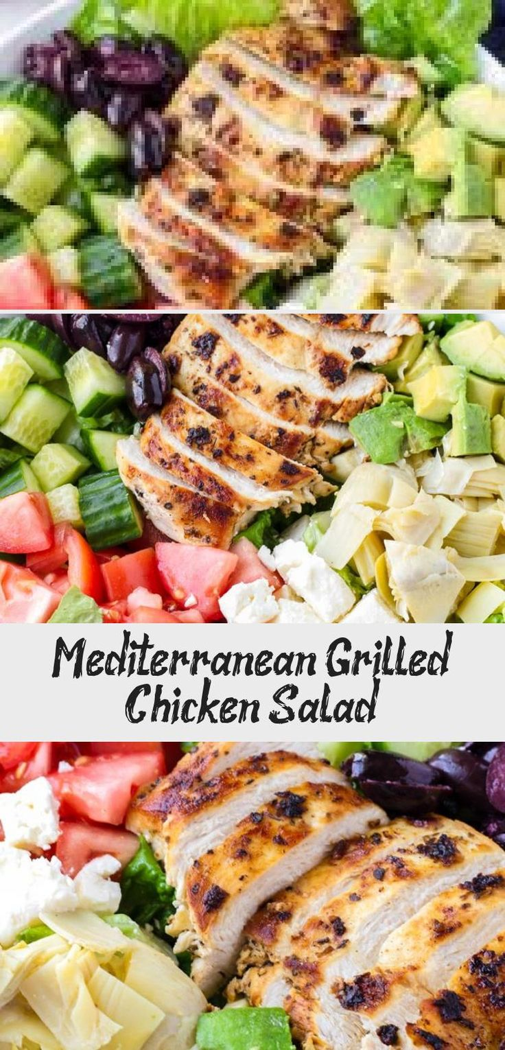 The best Mediterranean Chicken Salad! This Mediterranean grilled chicken salad is made with juicy a flavorful grilled chicken breast, complete with a mediterranean red wine dressing. Tossed feta, olives, avocado, and artichokes #cookingformysoul #mediterraneansalad #mediterraneandiet #grilledchickensalad #grilledchicken #mediterraneangrilledchicken   cookingformysoul.com #Cabbagesaladrecipes #Christmassaladrecipes #Tossedsaladrecipes #MasonJarsaladrecipes #Coldsaladrecipes