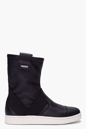 SLVR Black Cupsole Work Boots for Men   SSENSE