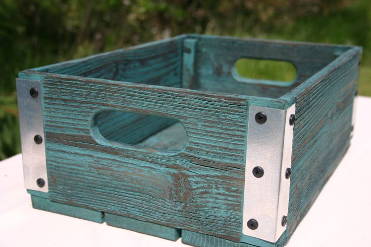 Handmade Reclaimed Wood Crate - Turquoise With Silver Metal Corners - Distressed Barnwood Storage Crate - Southwestern by JJWoodwork on Etsy