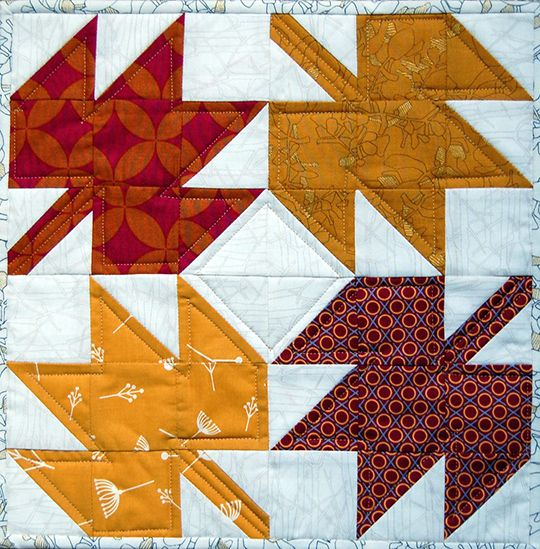 Heather Kojan is a contributor to Classic Modern Quilts. Today, as part of our continuation of National Sewing Month, she's presenting a wonderful tutorial on making a Maple Leaf mini quilt! It's time to start thinking about fall. And when I think about fall, I think about Maple Leaf blocks. And yes, I'm (almost) always thinking in terms of quilt blocks. I love the maple leaf block. It's in my top five favorite blocks, along with Log Cabin, LeMoyne Star, Shoo Fly and Churn...